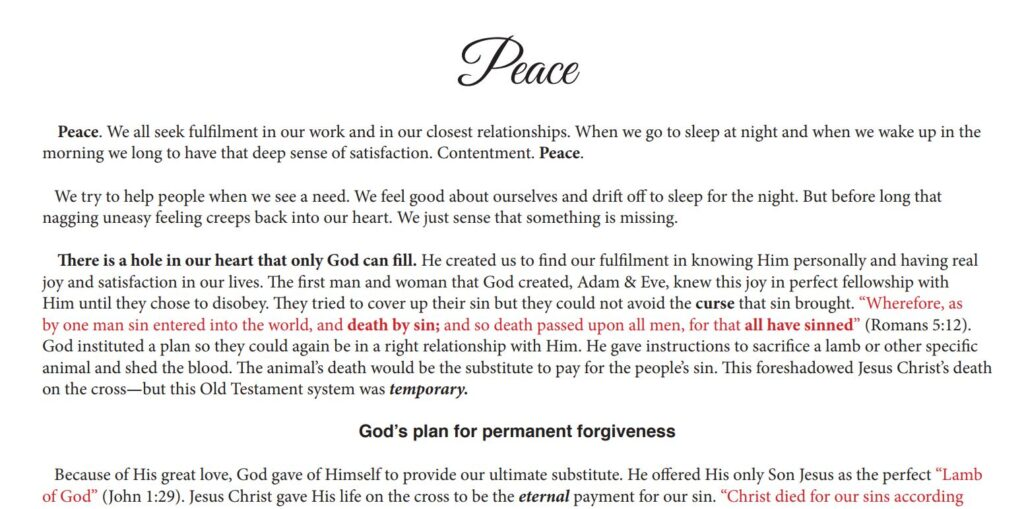 Lifegate tract - Peace
